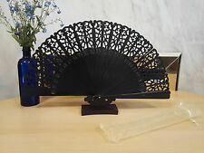 Spanish Wooden Black Glossy Hollow Carved Both Sides Painted Hand Fan Wedding