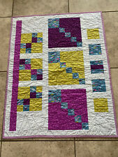 New listing Handmade Small Multicolor Patchwork Cotton Lap Quilt ~ Crib Quilt ~ 39� X 31�