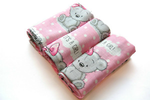 ✅ IT'S A GIRL 3 PACK Large Printed Muslin Squares 100% Cotton Baby BABY SHOWER ✅