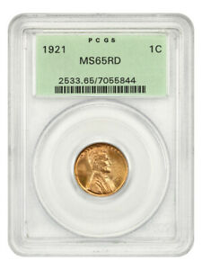 1921 1c PCGS MS65 RD (OGH) Old Green Label Holder - Lincoln Cent