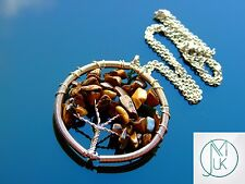 Handmade Tigers Eye Tree of Life Natural Gemstone Pendant Necklace 50cm Chakra