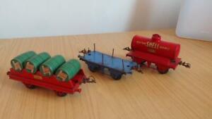 AQ583: Hornby O Gauge Wagons x 3 - Castrol Barrel, Shell Tank & Lumber