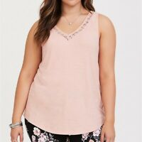 Torrid 4X 5X Top Tank Shirt Pink Lace Inset Strappy Back Plus Size V-Neck Hi Lo