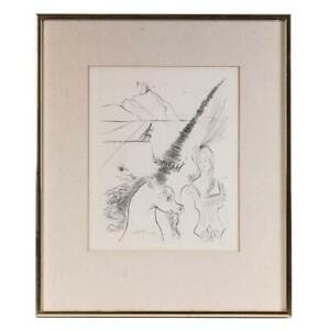 Original Salvador Dali, The Lady and the Unicorn Etching, Signed in Print