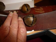#611 vtg Bells Lot of 8 Bells 7 metal Sleigh Bells on Leather strap