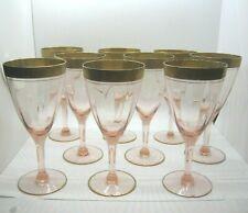 Pink Depression Glass Gold Trim Wine Set of 9
