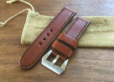 Zeugma Panerai Leather Strap 24mm x 24mm In Bordeaux W/ Black Stitch New/Unworn