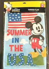 """New listing Disney Mickey Mouse Summer In The Usa Garden Flag 12"""" X 18"""" Celebrating 90 Yrs"""