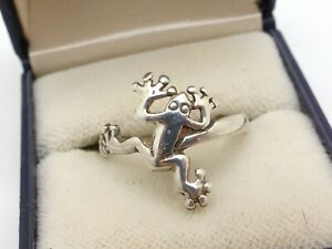 Exotic Frog Shaped 925 Sterling Silver Ring Animal Shiny UK Size P