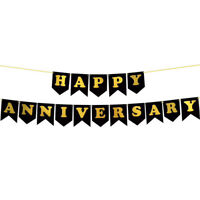 Happy Anniversary Banner with Gold Print Party Decor Display for Anniversar L4B2