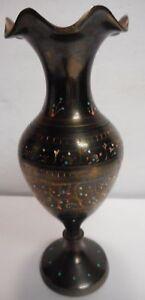 Vintage 8 Inch Height Bronze Designed Pakistan Vase Copper Craft Decor Brass