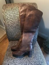 RLL Ralph Lauren Chocolate Over The Knee Soft Leather Boots Sz UK 6 US 8 RRP£249