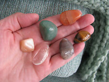 """NEW """"WEALTH, MONEY, GOOD LUCK & SECURITY"""" CRYSTAL HEALING STONE SET OF 6 W/ BAG"""