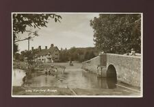 Kent EYNSFORD Bridge & Ford Children in stream c1950/60s? RP PPC
