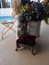 vintage FOOTSTOOL ornate cast metal antiqued bronze new velvet cushion