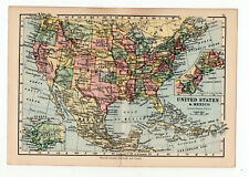Antique Map Of United States North America   W&AK Johnston 1897