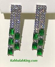 Platinum Sterling Silver Green White Sapphire Emerald Dangle Chandelier Earrings
