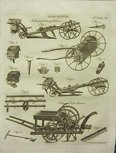 1797 GEORGIAN PRINT~ AGRICULTURE SOWING MACHINE COOKE'S DRILL DIAGRAMS FARMING