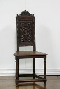 1107092-1 : Carved Antique French Renaissance Oak Side Chair