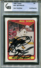 1990-91 Topps RAY BOURQUE Signed Card GAI Slabbed On-Card Auto Boston Bruins HOF