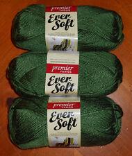 Premier Ever Soft Yarn Lot Of 3 Skeins (Forest #70-25) 3 oz.