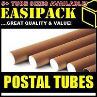 "5 x A3/A4 Postal Cardboard Poster Tubes 44.5 x 330mm (1.75"" x 13"") + End Caps"