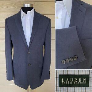 Men's LRL Ralph Lauren Poly Blend Sport Coat Jacket Blazer 42L Blue One Vent