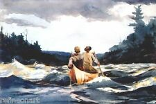 Handmade Oil Painting repro Winslow Homer Canoe in the rapids