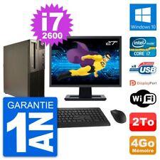 "PC LENOVO M82 SFF Screen 27 "" Intel i7-2600 RAM 4Go Disk Hard 2To Windows 10"