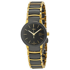 Rado Centrix Black Dial Yellow Gold PVD Black Ceramic Ladies Watch R30930152