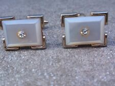 VINTAGE 1960'S GOLD PLATED MOTHER OF PEARL DIAMANTE CUFFLINKS
