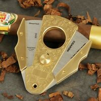 CIGARISM Luxury Copper Inox Stainless Steel Carving Sharp Cigar Cutter CN