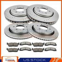 Front + Rear Brake Rotors And Ceramic Pads Drill Slot For 2015-2017 Ford F-150