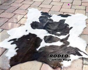 Hairy super soft beautiful Black & White Rodeo Calf skin rug 3' X3' Best Quality
