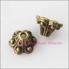 25 New Connectors Cone Flower Antiqued Bronze Tone End Bead Caps 9mm