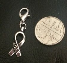 BREAST CANCER SILVERTONE HOPE RIBBON CHARM & LOBSTER CLASP - ATTACH TO ANYTHING