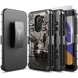 For Jitterbug Smart 2 Phone Case Holster Belt Clip Phone Cover + Tempered Glass
