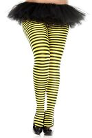 Yellow & Black Stripe Tights L XL Plus Size Neon  Striped  Pantyhose UK 14 16 18
