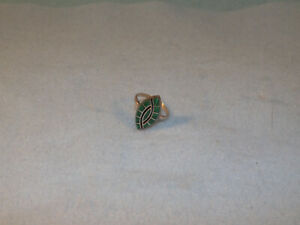 Vintage Sterling & Green Turquoise Inlay Ring