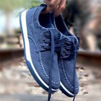 US Men's Canvas Casual Shoes Flats Suede Driving Sneakers Footwear   / !