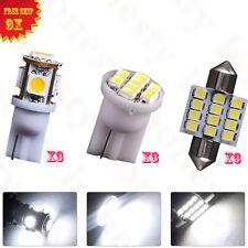 9PCS White LED Lights Interior Package T10 31mm Dome Map License Plate Bulb 12V