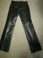 Women's GAP Leather Pants Black Boot Cut 4 pocket styling Zip Fly Slacks Size 6