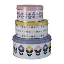Set Of 3 Joni Round Storage Tins Pastel Colours Vintage Design Robust Tins