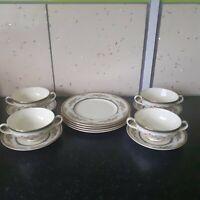 Vintage Rare Minton Stanwood  4 Person Soup Set Dinnerware Fine Bone Victorian