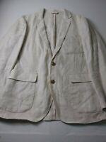 New J Crew Mens Sport Coat Size Small Beige 2 Button Side Vents 100% Linen