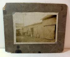Model T and horse outside Velvet Ice Cream barn stable; c 1900 original photo