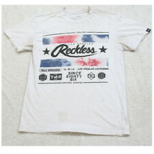 Small Young & Reckless White Crewneck Graphic Tee T-Shirt Top Short Sleeve Mans