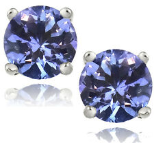 925 Sterling Silver 1.25ct Tanzanite Round 5mm Stud Earrings with Certificate
