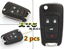 2 pcs 4 Buttons Folding Key Shell Remote Key Case Fob Replaceme for Chevrolet