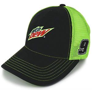 Chase Elliott Mtn Dew Black Green Sponsor Mesh Trucker Snapback NASCAR Hat Cap
